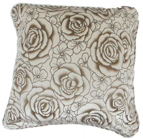 CHENILLE FLORAL ROSES CUSHION WHITE COLOUR
